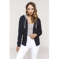 Sweat-shirt zippé capuche contrastée femme avec broderie(s) PPA