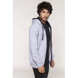 Sweat-shirt zippé capuche contrastée avec broderie(s) APVS