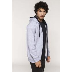 Sweat-shirt zippé capuche contrastée avec broderie(s) PPA