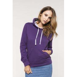 Sweat-shirt capuche contrastée femme avec broderie(s) PPA