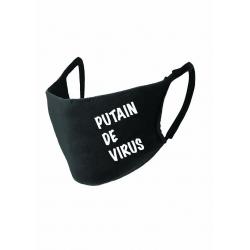"""Masque noir """"PUTAIN DE VIRUS"""" norme Afnor UNS1"""