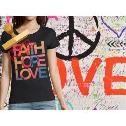 Tee-shirt Femme imprimé Faith Hope Love