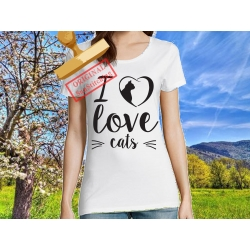 Tee-shirt I love Cats V2