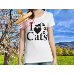 Tee-shirt I love Cats V3